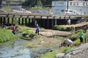 Volunteers working diligently at Javier's cleanup site at last year's Creek to Bay Cleanup